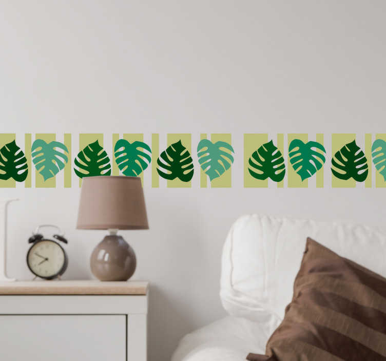 TenStickers. Wandtattoo Blätter auf Hintergrund. Diese Aufkleber stellen Blätter dar, die auf einem sanften grünen Hintergrund sind. Diese Blätter erhalten Sie in verschiedenen Farben und Größen