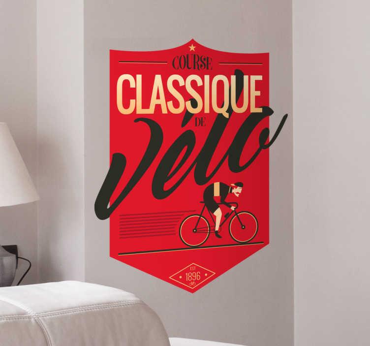 TenStickers. Sticker cyclisme classique style rétro. Exprimez votre passion pour le vélo avec ce sticker rétro original de couleur rouge. Il ajoutera de la couleur à votre intérieur.
