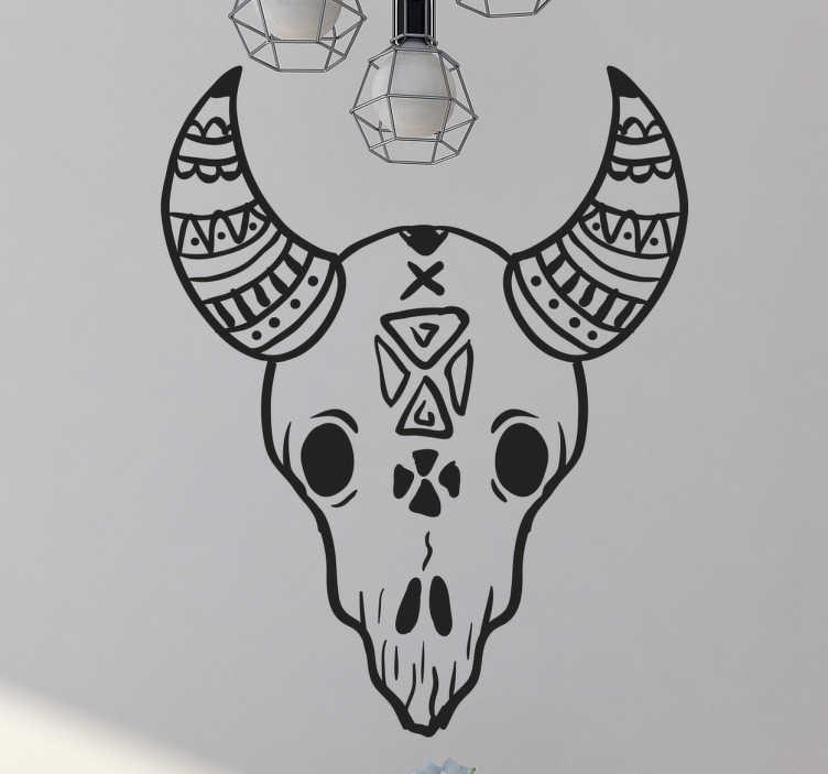 TenVinilo. Vinilo decorativo calavera animal. Vinilos de esqueletos con un estilo gráfico étnico, basado en tótems indio-americanos.