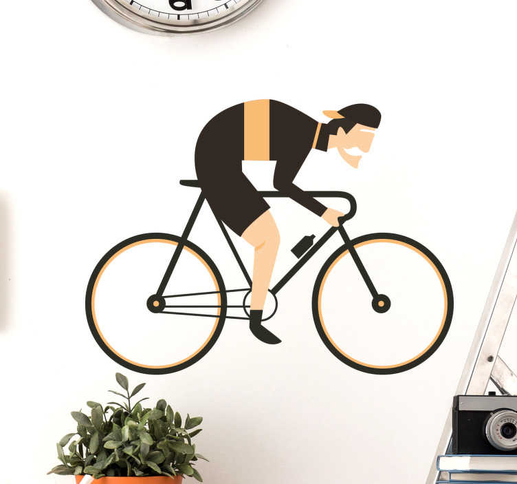 TenStickers. Sticker cycliste. Un autocollant mural amovible d'un cycliste, une belle décoration pour toute personne qui est un cycliste au cœur.