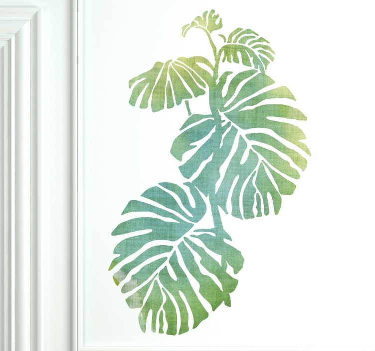 TenStickers. Wandtattoo Palmenblätter Aquarell. Dieses Wandtattoo im Aquarellstil zeigt mehrere Palmenblätter die in ihrer Größe variieren und vertikal angeordnet sind.