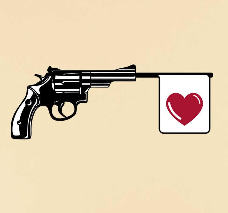 TenStickers. Muursticker revolver met hartje. Muursticker bedrukt met een revolver waaruit geen kogels, maar een vlaggetje met een hart komt. Express verzending 24/48u.