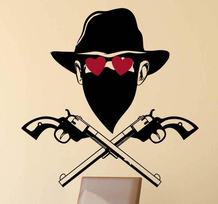 TenStickers. Muursticker verliefde bandiet. Muursticker met een verliefde bandiet, deze bandiet uit het wilde westen heeft een cowboy hoed op, revolvers en hartjes voor zijn ogen.