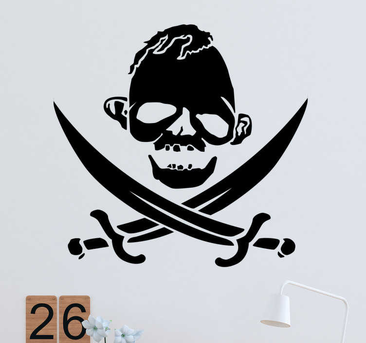 TenStickers. Wandtattoo Faultier Pirat. Dieses lustige Wandtattoo zeigt den Totenkopf eines Faultiers im Stil eines Piratens. Darunter sind zwei gekreuzte Säbel.