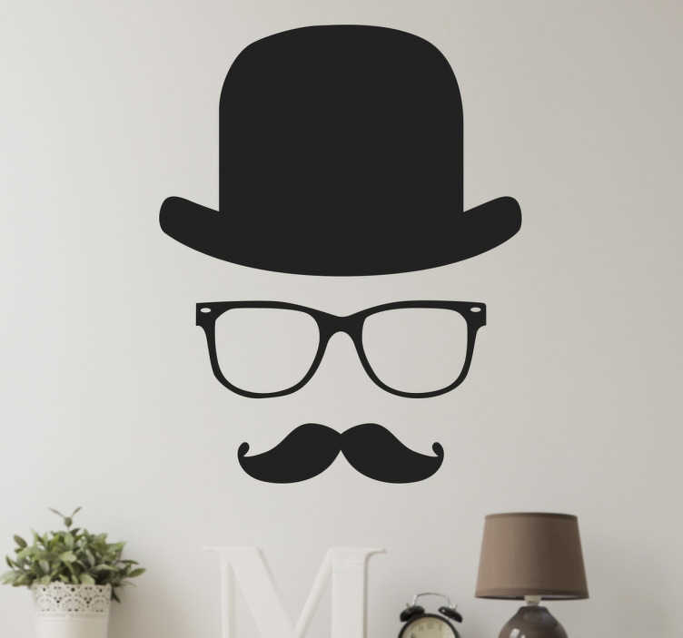 TenStickers. Gentleman Wall Sticker. The wall sticker consists of an invisible gentleman. The wall sticker consists of glasses, a top hat and moustache.