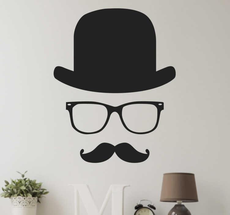 TenStickers. 신사 벽 스티커. 보이지 않는 신사로 구성된 독특한 벽 스티커 장식. 신사 데칼은 클래식 안경, 탑 모자 및 콧수염을 특징으로합니다.