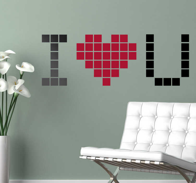 "TenStickers. I Love You Pixel Wall Sticker. The removable wall sticker design consists of the message ""I love you"" written in a pixelated format. The word love is replaced with a love heart."