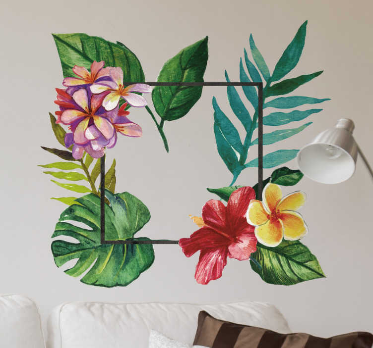 TenStickers. Wandtattoo Tropische Pflanzen. Auf diesem Wandtattoo wurden bunte tropische Pflanzen in einem Quadrat angeordnet. Es ist wunderschön bunt.