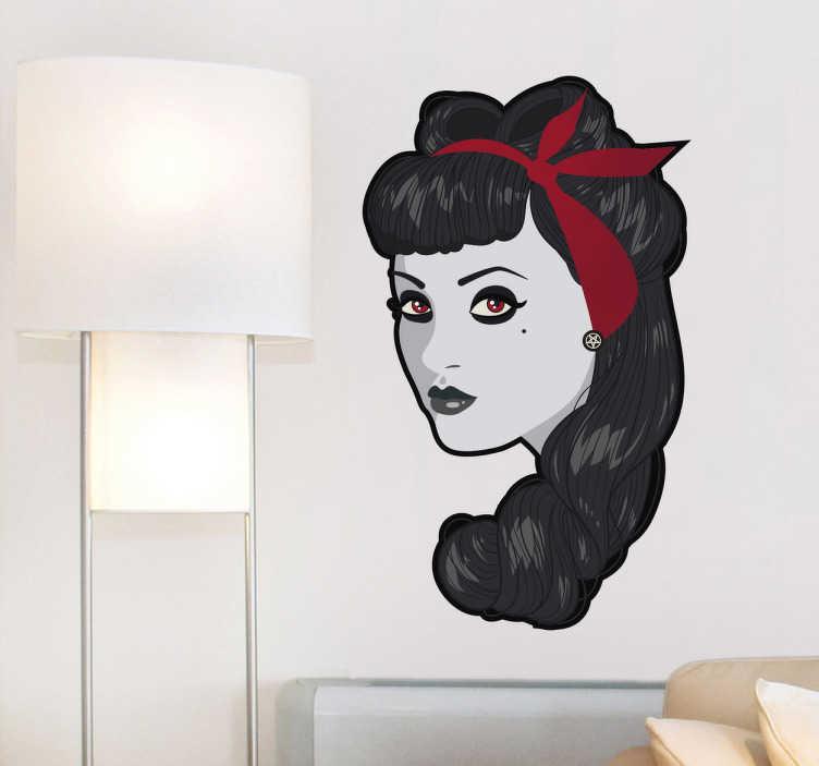 TenStickers. Wandtattoo pinup zombie. Dieses Wandtattoo zeigt eine Dame im Pin Up-Stil. Durch die blasse Haut und die roten Augen ist diese Dame wohl ein Zombie.