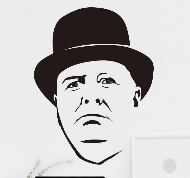 TenStickers. Naklejka retro Winston Churchill. Naklejka ścienna z rysunkiem twarzy jednej z najsłynniejszych postaci politycznej XX wieku: Winstona Churchilla. Wysoka jakość wykonania.