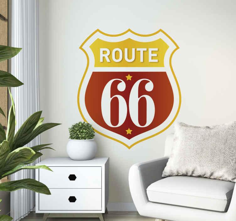TenStickers. Wandtattoo Retro Route 66. Dieses Wandtattoo zeigt das Emblem der wohl berühmtesten Straße der Welt: Der Route 66.