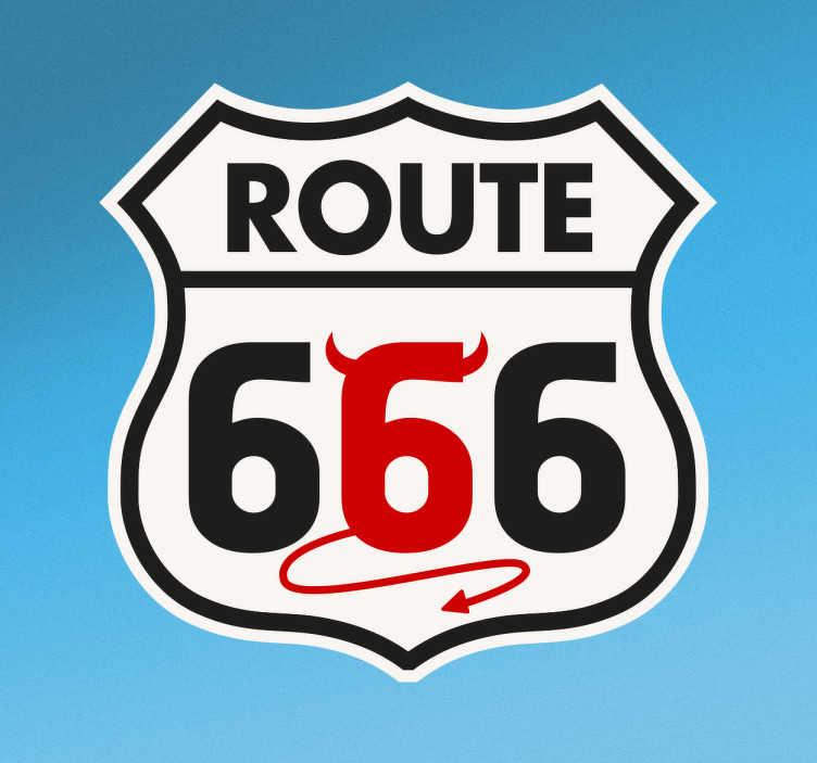 """TenVinilo. Vinilo decorativo Ruta 66 diablo. Vinilos de señales de tráfico con representación del cartel de la famosa Route 66 pero en este caso incluyendo un """"6"""" relacionado con el diablo."""