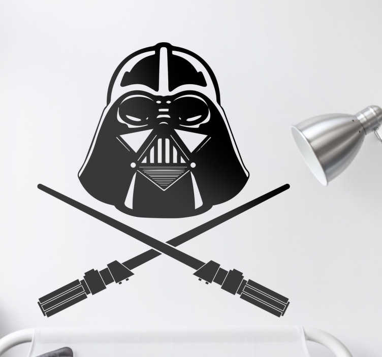 TenStickers. Darth Vader Pirate Sticker. The design consists of a Darth Vader mask and two light-sabres similar to the layout of the jolly roger flag. Decorate your home with this sticker
