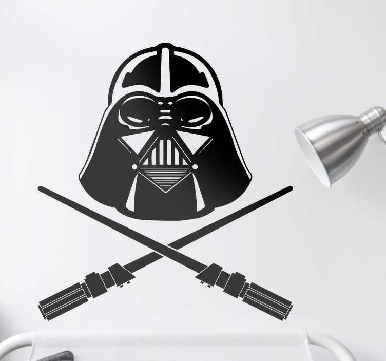 TenStickers. Wandtattoo StarWars Pirat. Dieses Wandtattoo zeigt die Maske von Darth Vader aus Star Wars unter der in alter Piratenmanier zwei Lichtschwerter gekreuzt sind.