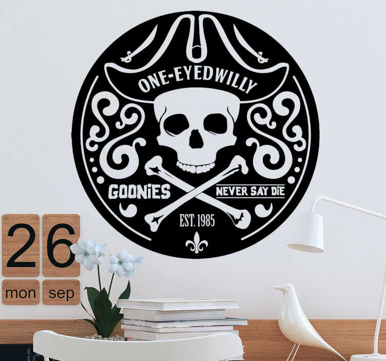 TenStickers. Muursticker logo Goonies Willy. Muursticker logo Goonies Willy, ben jij een fan van deze cult klassieker? Dan is deze wanddecoratie zeker wat voor jou.