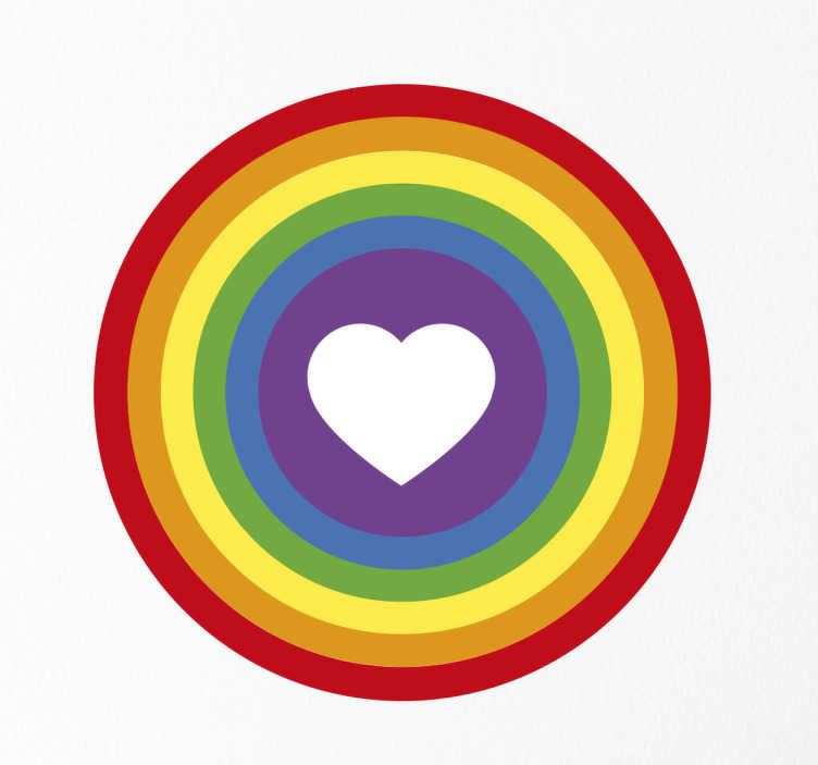 TenStickers. Wandtattoo Herz Kreis Regenbogenfahne. Dieses Wandtattoo zeigt einen Kreis in dessen Mitte ein Herz ausgeschnitten ist. Um das Herz wird der Kreis mit der Regenbogenfahne gefüllt.