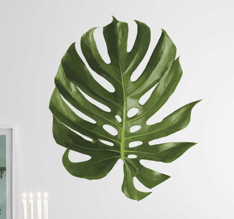 TenStickers. Swiss Cheese Plant Wall Sticker. Vibrant green plant wall sticker of a large leaf of the aptly named Swiss cheese plant, otherwise known as the monstera deliciosa. This leaf wall sticker is just what you need to bring a touch of nature to the home decor in your living room, dining room or bedroom.