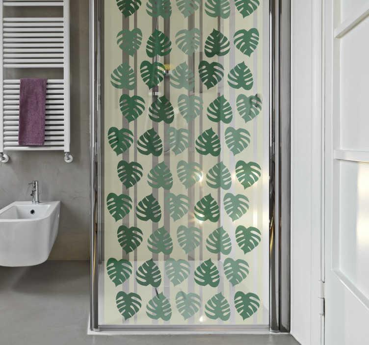 TenStickers. Duschwandaufkleber Blätter. Dieser Aufkleber für Ihre Duschwand oder Duschkabine zeigt viele grüne Blätter aus dem Regenwald.