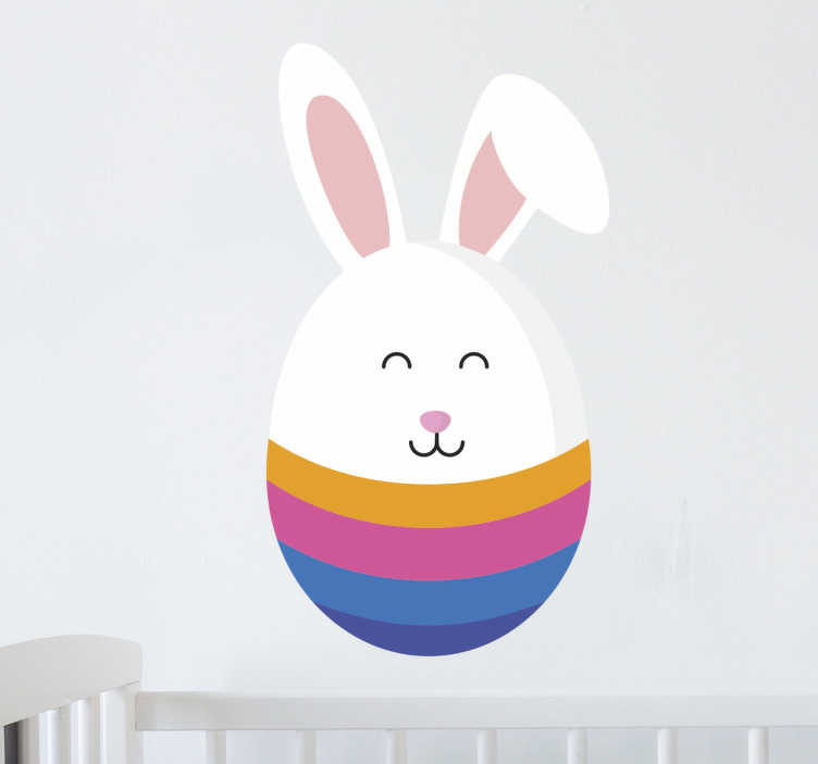 TenStickers. Half Egg And Half Rabbit Wall Sticker. An Easter wall sticker for children. The design consists of a coloured Easter egg in which the top has been replaced by the Easter Bunny.