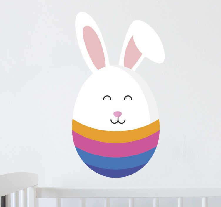 TenStickers. Wandtattoo Hase Ei. Dieses süße Wandtattoo für Kinder zum Thema Ostern zeigt einen Hasen der zur Hälfte ein buntes Ei ist.