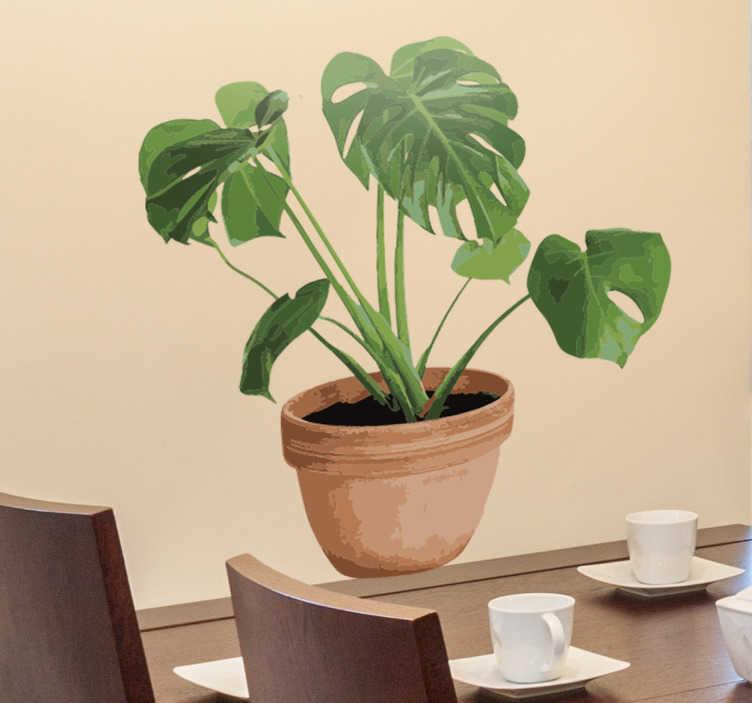 TenStickers. Dekoracja kwiat w doniczce. Naklejka ścienna prezentująca eleganckiego kwiatka. Nie lubisz żywych roślin? W takim razie ta dekoracja doskonale sprawdzi się w Twoim domu.