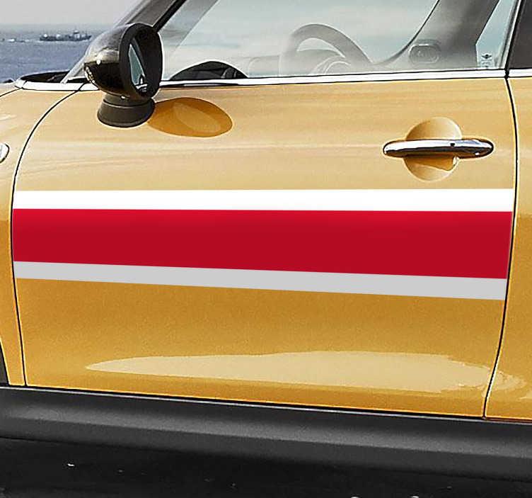 TenStickers. Autoaufkleber Englischer Streifen. Dieser Autoaufkleber gibt Ihrem Auto einen englischen Streifen wie er von Autos aus den 1970er Jahren bekannt ist.