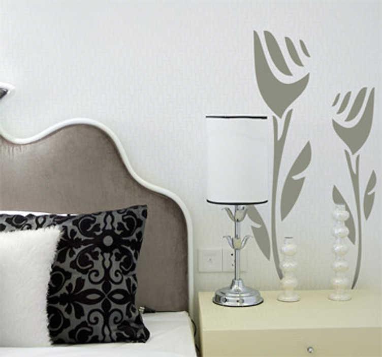 TenStickers. Naklejka dwa tulipany. Naklejka na ścianę przedstawiająca dwa tulipany. Obrazek przeznaczony do dekoracji salonu lub sypialni.
