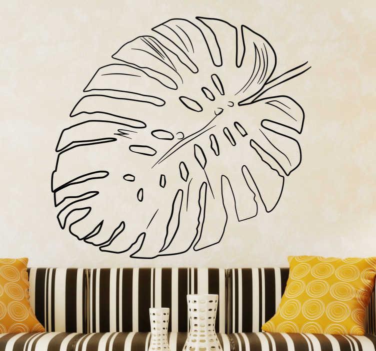 TenStickers. Muursticker blad. Muursticker ontworpen met een blad van een plant met verschillende gaatjes en uitsteeksels, mooi voor wat extra groen in huis.