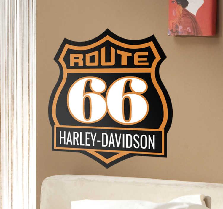 TenVinilo. Vinilo Ruta 66 Harley Davidson. Pegatinas para moto con representación de la famosa señal de tráfico de la Route 66 acompañada del logo de la mítica marca de motos custom.