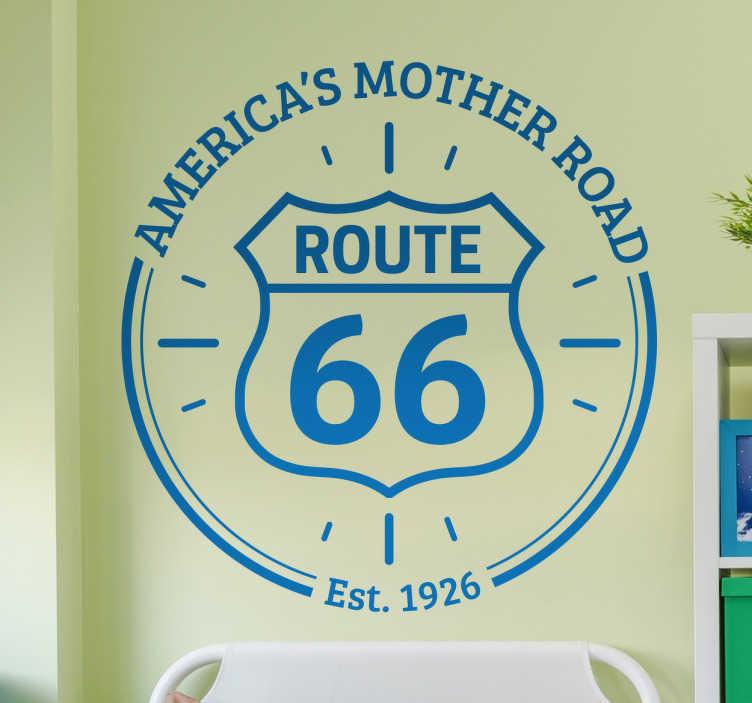 TenStickers. Muursticker route 66 the mother road. Muursticker met het bekende logo van de wereldberoemde Amerikaanse snelweg route 66 met hierboven de woorden ¨America´s mother road¨.