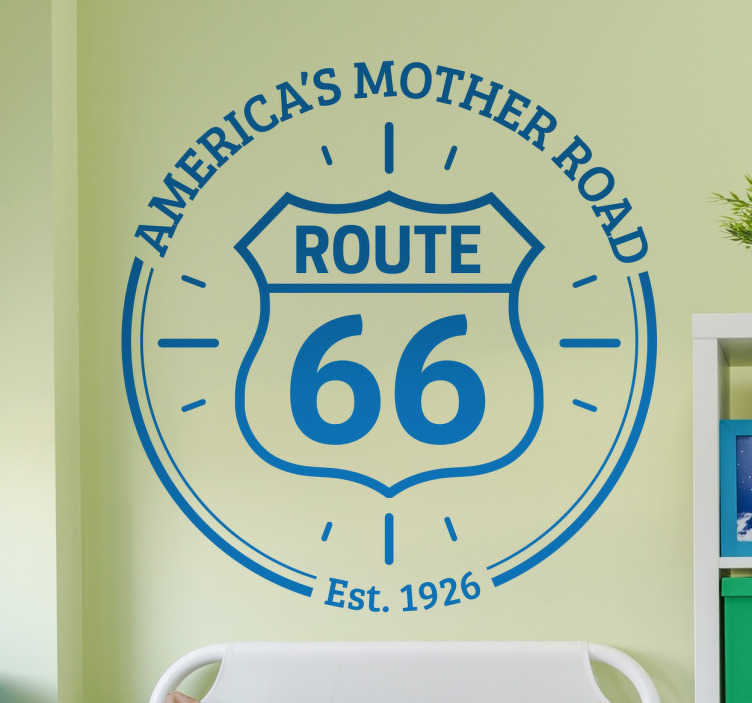 TenStickers. Sticker America's Mother Road. Autocollant mural avec le logo de l'autoroute américaine route 66 avec les mots 'America's Mother Road'.