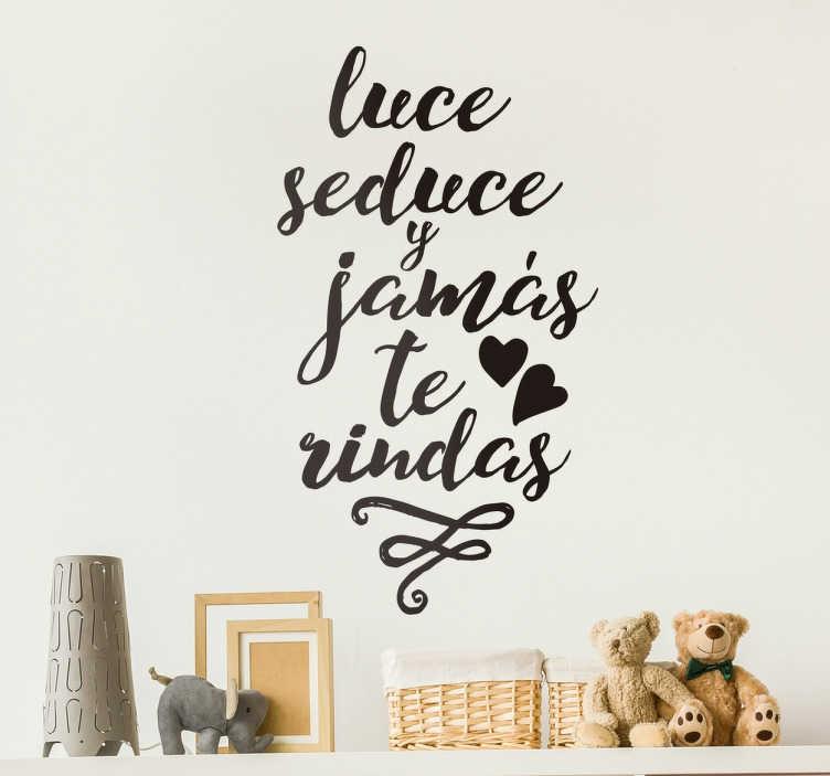 Vinilos de frases luce seduce pinup tenvinilo for Pegatinas frases pared