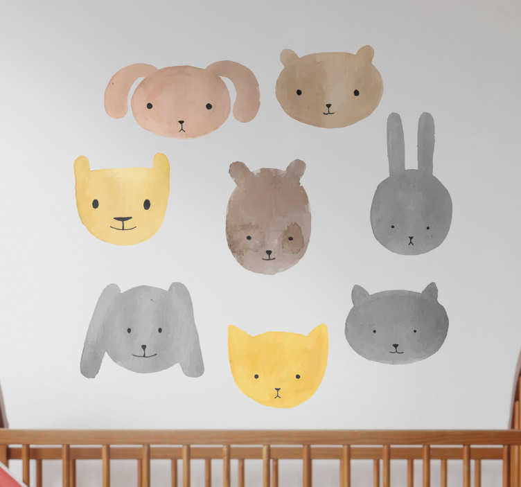 TenVinilo. Vinilos para bebés círculo animales. Vinilos decorativos infantiles con una representación de una serie de lindas mascotas como un conejo, un gato, un oso…