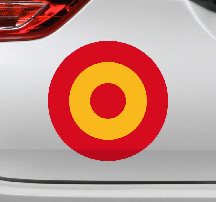 TenVinilo. Adhesivo bandera España Fuerza Aerea. Pegatinas España circulares, ideales para decorar por ejemplo el maletero de tu coche. Reproducción de la bandera española en un formato circular.
