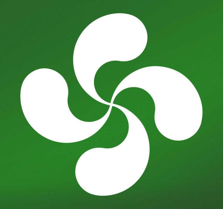 TenVinilo. Pegatina bandera de euskadi lauburu. Vinilos decorativos País Vasco con una representación de símbolos celtas identificativos de Euskal Herria.