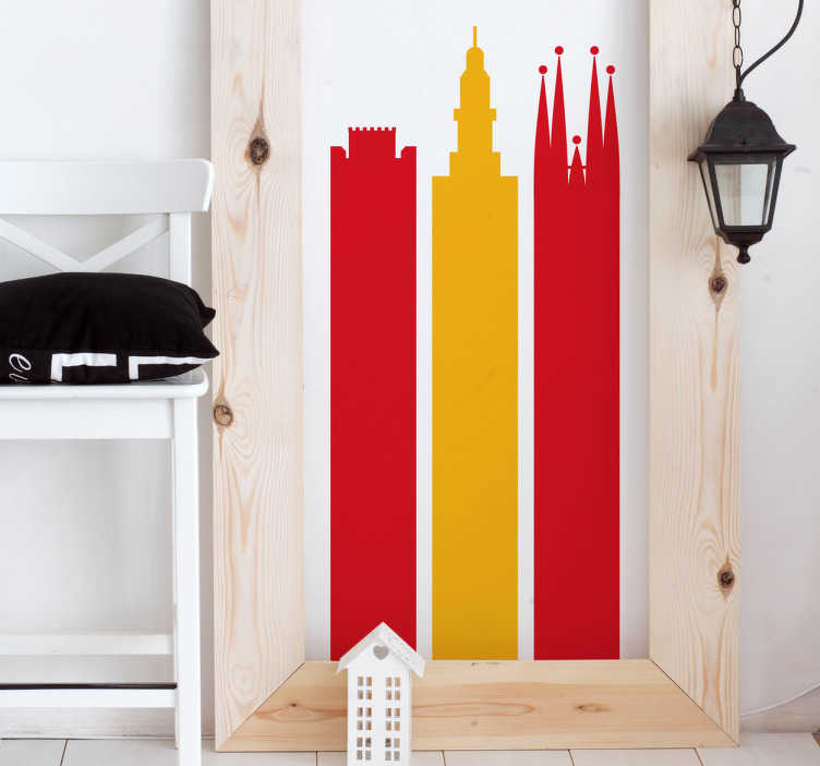 TenStickers. Adesivo monumenti Spagna Bandiera. Adesivo murale per i viaggiatori e, in particolare, per gli amanti della Spagna con Sagrada Familia, Alhambra e Giralda.