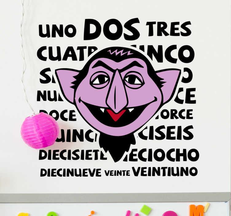 TenVinilo. Vinilo Barrio Sésamo Drácula. Pegatinas infantiles con un dibujo de un programa de televisión de los años 80 en el que un divertido vampiro te ayudaba a aprender los números.