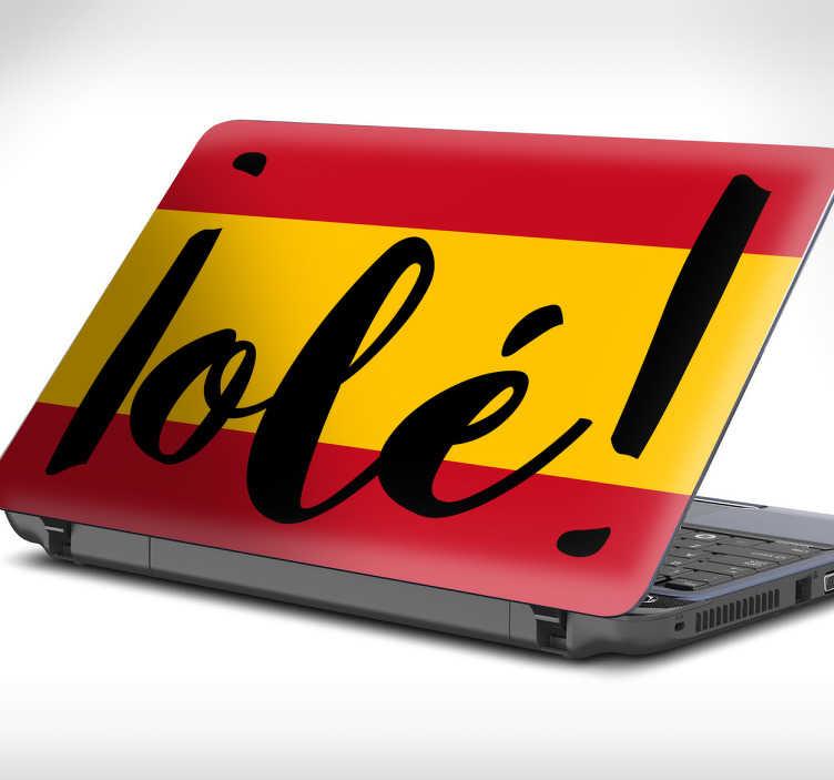 TenStickers. Dekoracja na laptopa flaga Hiszpanii OLE. Dekoracja na laptopa przedstawiająca flagę Hiszpanii wraz z napisem OLE!.