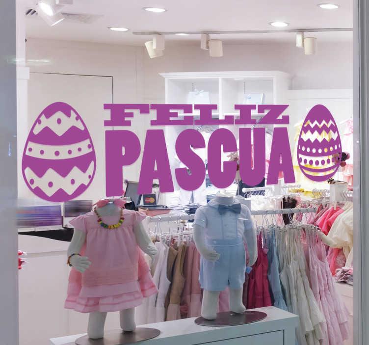 TenVinilo. Vinilo promoción feliz pascua. Ahora puedes decorar tu negocio con un vinilo pascua de diseño exclusivo y promocionar esta fiesta cada vez más popular.