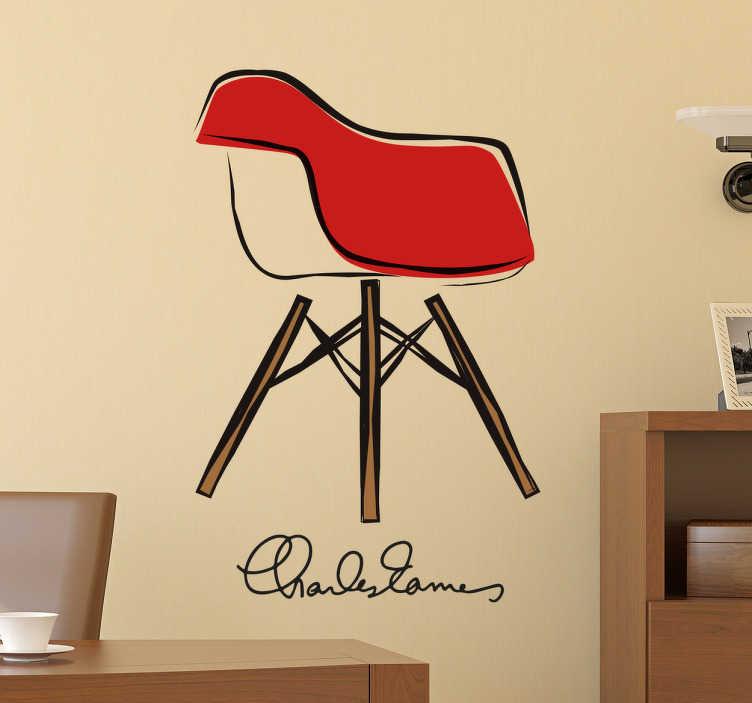 TenStickers. Muursticker ontwerp stoel Eames. Muursticker van een ontwerp van een stoel van de beroemde architect Eames, in verschillende kleuren.
