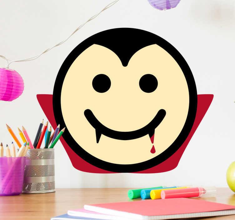 TenStickers. Sticker smiley heureux Dracula. L'autocollant mural est adapté pour tout type de surface lisse et est parfait pour décorer les murs de la chambre de vos enfants.