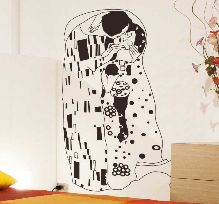 TenStickers. Klimt's 'The Kiss' Outline Sticker. Perfect for all art lovers out there, this modern twist on a classic piece of art, Gustav Klimt's 'The Kiss'
