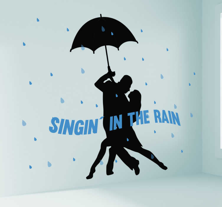 "TenVinilo. Vinilo pareja cantando bajo la lluvia. Vinilo cine con la silueta de una pareja bailando bajo la lluvia al estilo de la película de Gene Kelly y la frase ""Singin' in the rain""."