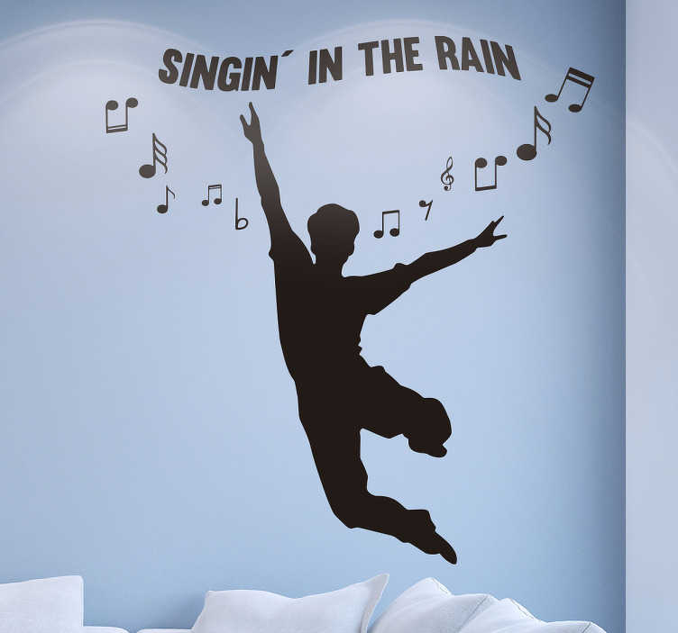TenStickers. Najklejka ścienna Singing in the rain. Naklejka winylowa na ścianę przedstawiająca sylwetkę skaczącego z radości mężczyzny, a nad nim znajduje się napis ''Singin' in the rain'' i nuty.
