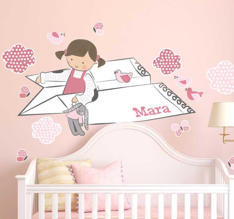TenStickers. Adesivo decorativo Bimbi Aeroplano Carta. Adesivo decorativo con l'illustrazione di una bimba che viaggia su un aeroplanino di carta con il peluche preferito.