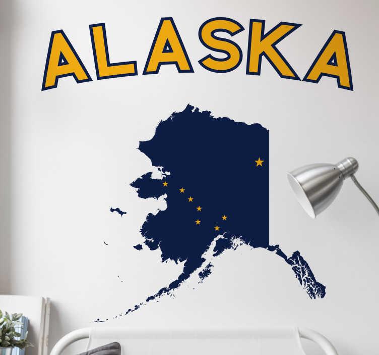 TenStickers. Naklejka dekoracyjna Alaska. Oryginalna naklejka dekoracyjna prezentująca napis ALASKA wraz z mapą.