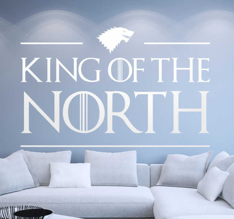 TenStickers. Sticker Game of Thrones King of the North. Adesivo murale dedicato all'ascesa al trono del Nord di Jon Snow, che diventa il King of the North di Game of Thrones.