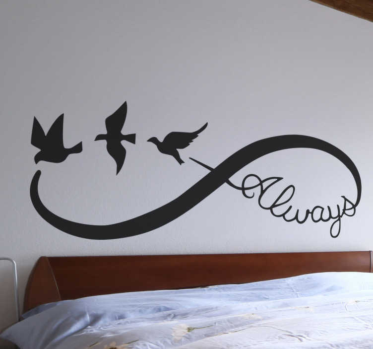 TenStickers. Infinity Love Bedroom Sticker. A beautiful infinity wall sticker to symbolise a love that will last forever. Perfect as a gift to a partner or other loved one.