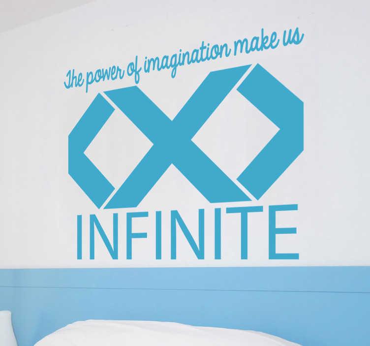 """TenStickers. Adesivo decorativo Simbolo infinito Imagination. Adesivo decorativo con una disegno stilizzato dell'infinito e la frase """"The power of imagination make us infinite""""."""