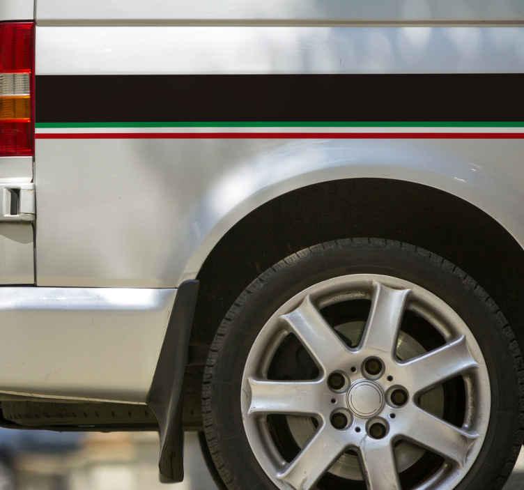 TenStickers. Sticker voiture couleurs Italie. Ce sticker aux couleurs de l'Italie rendra votre voiture moderne et unique. L'adhésif est fait de vinyle de haute qualité.